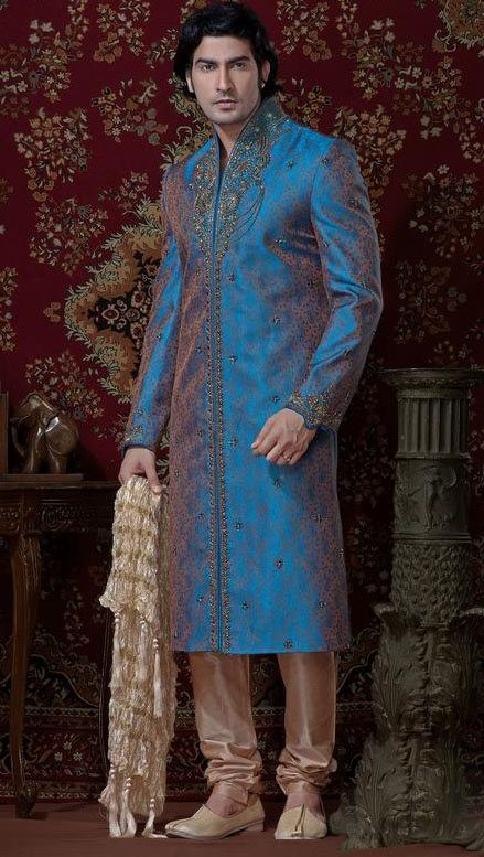 Blue & Beige Brocade Cotton Silk Sherwani With Churidar