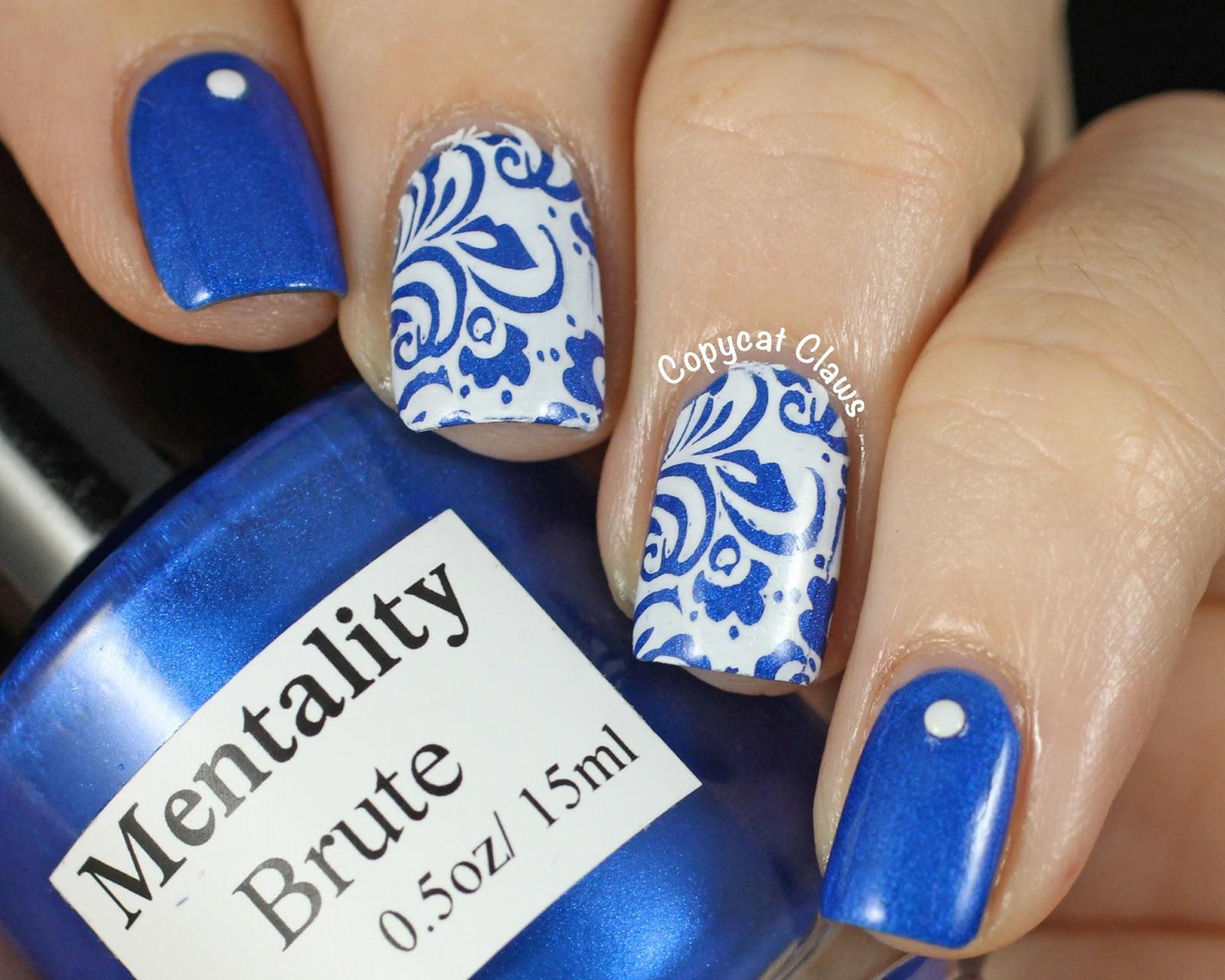 Blue And White Nail Polish Art To Bend Light