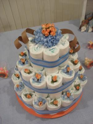 Decoração para chá de bebê - bolo de fraldas