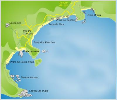 Mapa das praias de Trindade - RJ