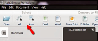 "Convert the entire PDF by selecting ""All"" or only parts of the document by selecting ""Area"""