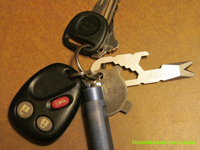 Navy CUI 2001 Keychain Tool on my keychain with a Sears Keychain Screwdriver and Fenix E01 AAA Flashlight