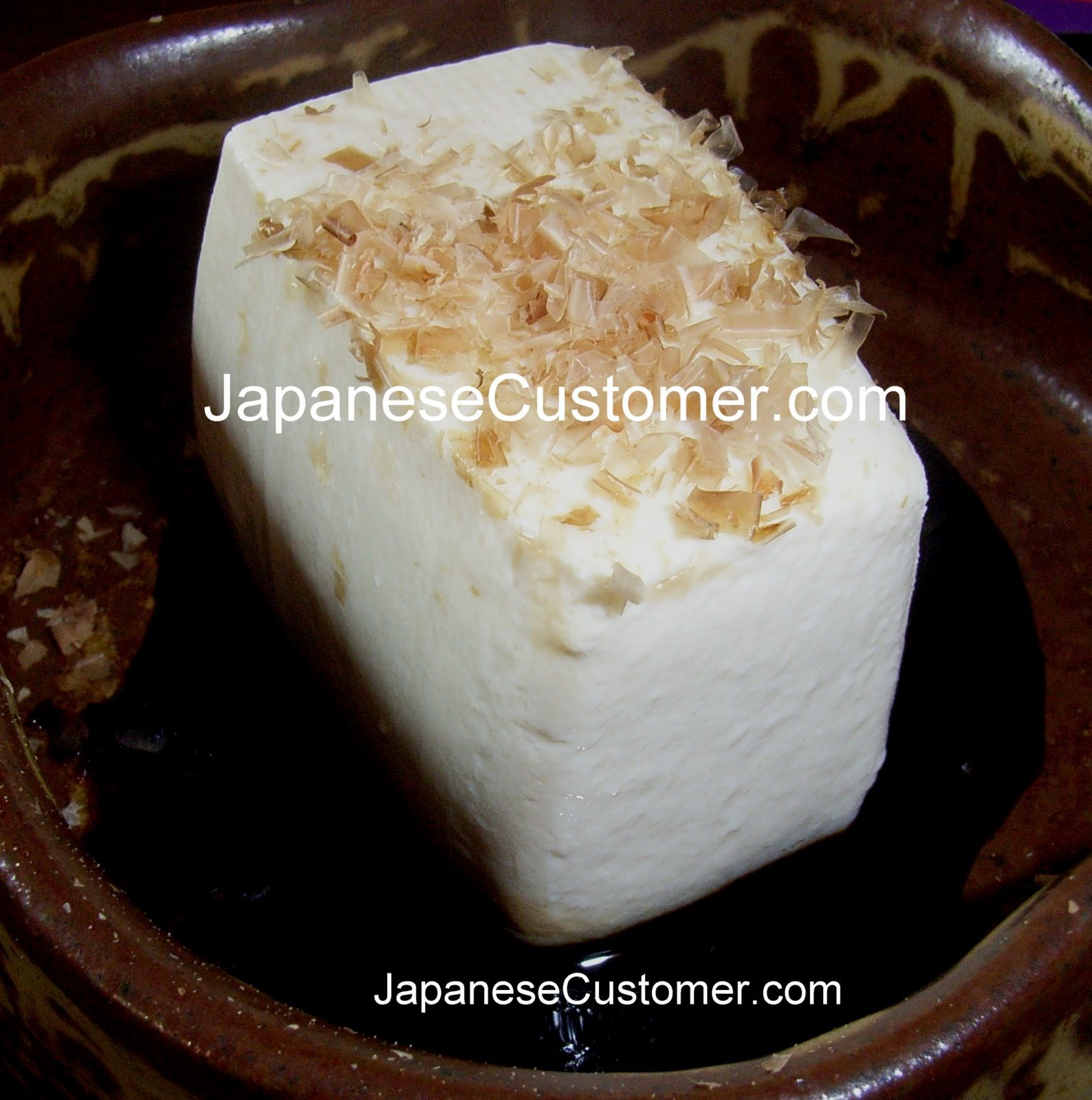 Japanese cuisine, tofu and soy sauce, copyright peter hanami 2005