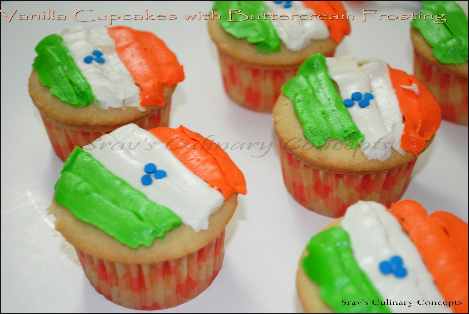 vanilla cupcakes with buttercream frosting - india flag special cupcakes for republic day