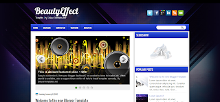 BeautyEffect Blogger Template design for music related blogger blog's
