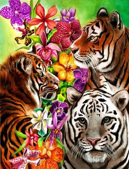 Tiger artwork flowers jungle