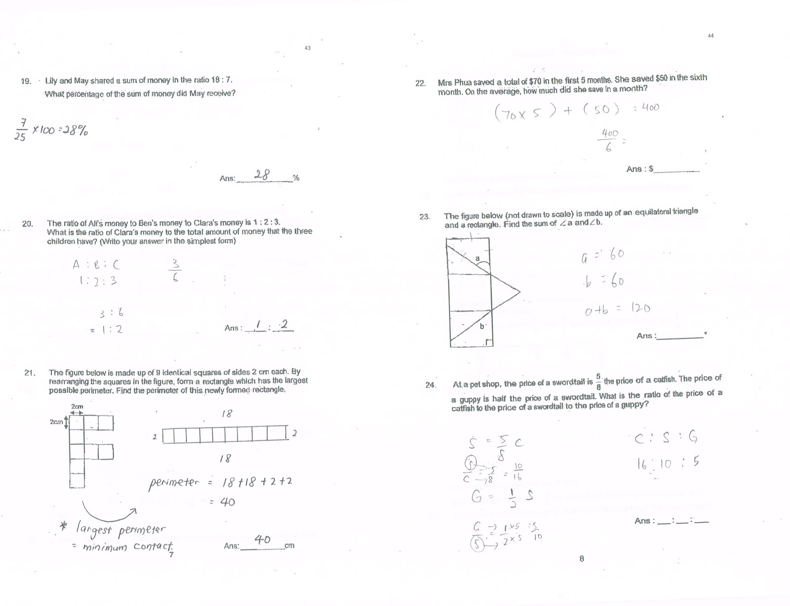Singapore Primary Six Mathematics: Questions and Answers with ...