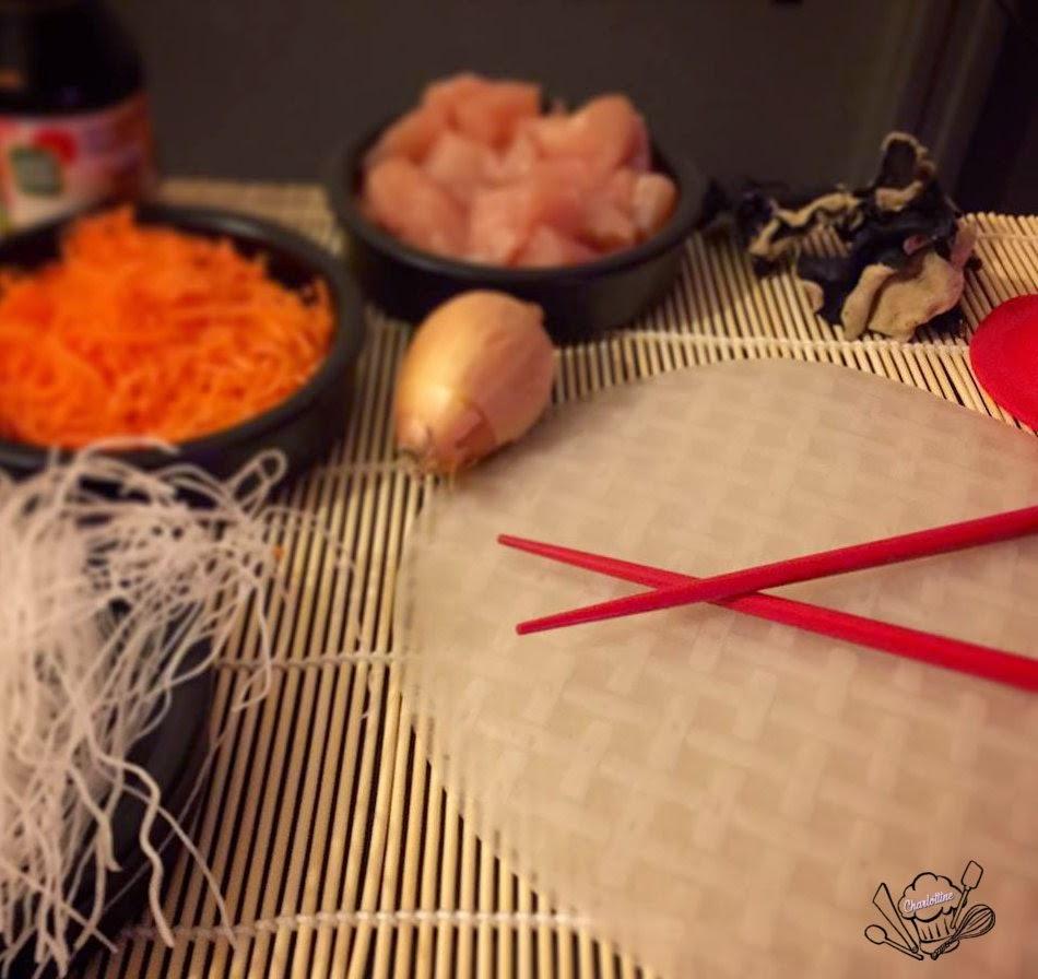 nems recette galette de riz carotte sauce soja champignon noir poulet soja