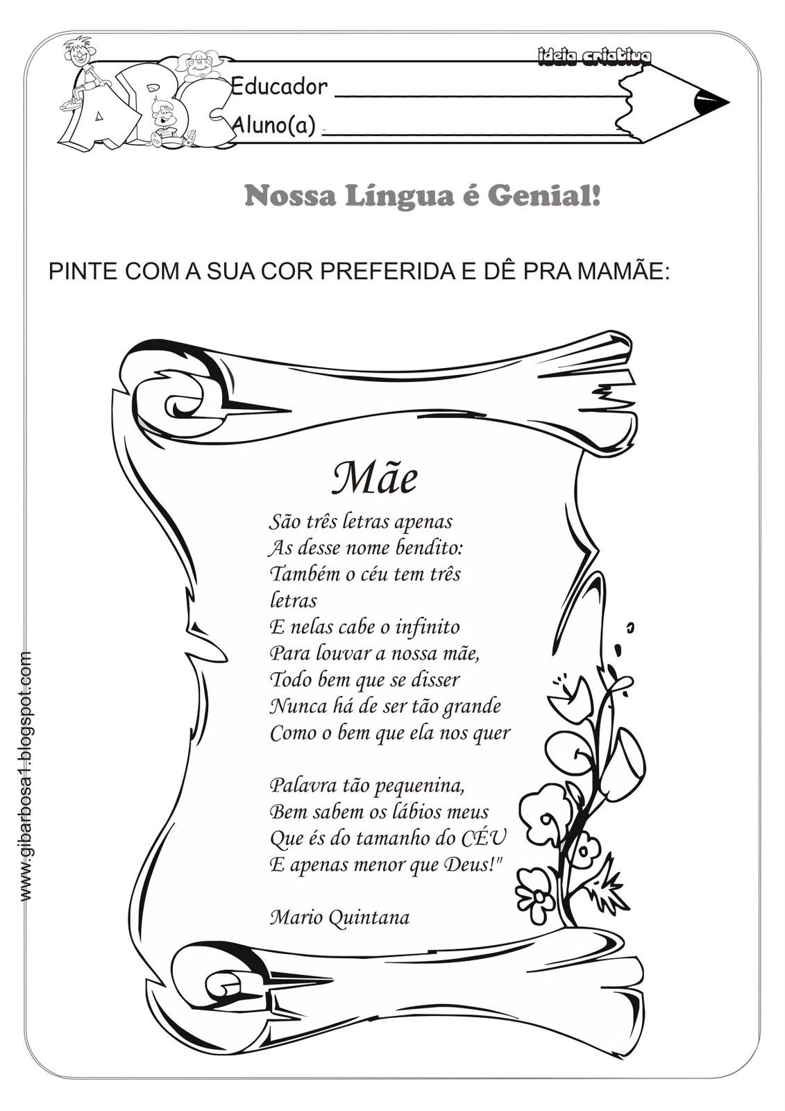 Atividade com Poema para Mamãe Mario Quintana São Três Letras apenas