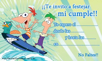 INVITACION DE CUMPLEA  OS PHINEAS AND FERB