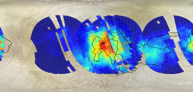 """Mapping the composition of the surface of Europa has shown that a few large areas have large concentrations of what are thought to be salts. These salts are systematically located in the recently resurfaced """"chaos regions,"""" which are outlined in black. One such region, named Western Powys Regio, has the highest concentration of these materials presumably derived from the internal ocean, and would make an ideal landing location for a Europa surface probe. Credit: M.E. Brown and P.D. Fischer/Caltech , K.P. Hand/JPL"""