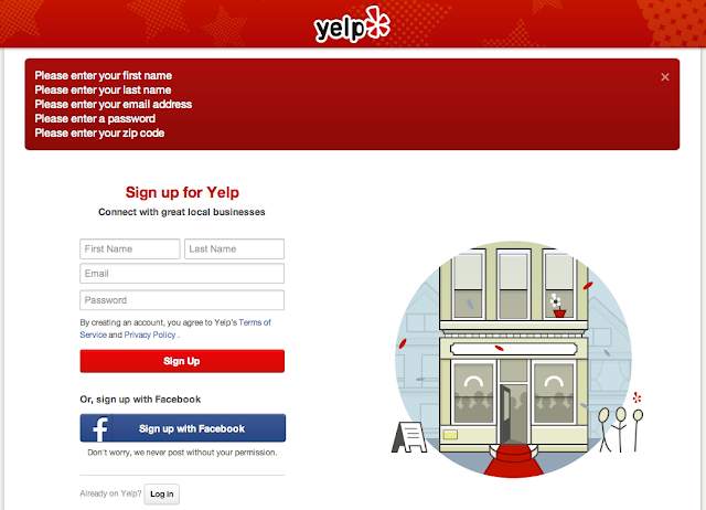 Yelp! signup error