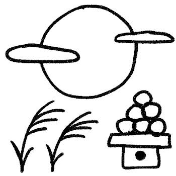 十五夜のイラスト「満月と月見団子」 白黒線画
