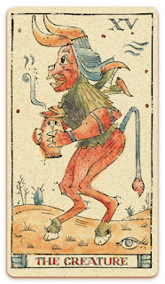 The Devil / The Creature card - Colored illustration - In the spirit of the Marseille tarot - major arcana - design and illustration by Cesare Asaro - Curio & Co. (Curio and Co. OG - www.curioandco.com)