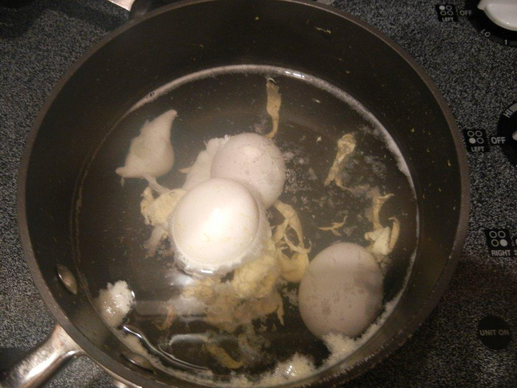 Crafty mojo hard boiled egg catastrophe so making hard boiled eggs shouldnt be that hard right you just put eggs in water and boil them well this was the first time the eggs cracked on me ccuart Choice Image