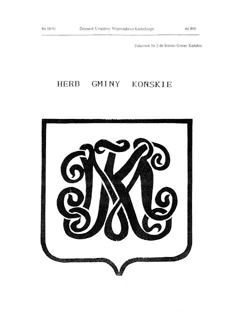 """Prezentacja herbu w """"Dzienniku Urzędowym Województwa Kieleckiego"""" z 1996 r., jako załącznik do Statutu Gminy Końskie."""