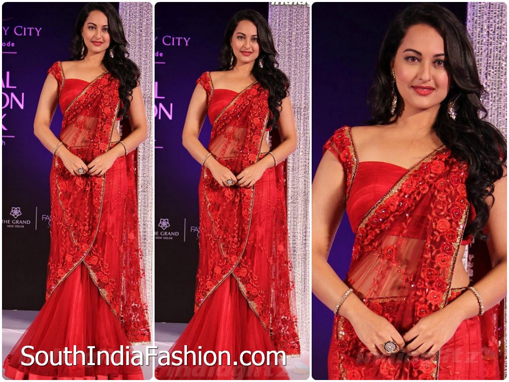 sonakshi in red lehenga