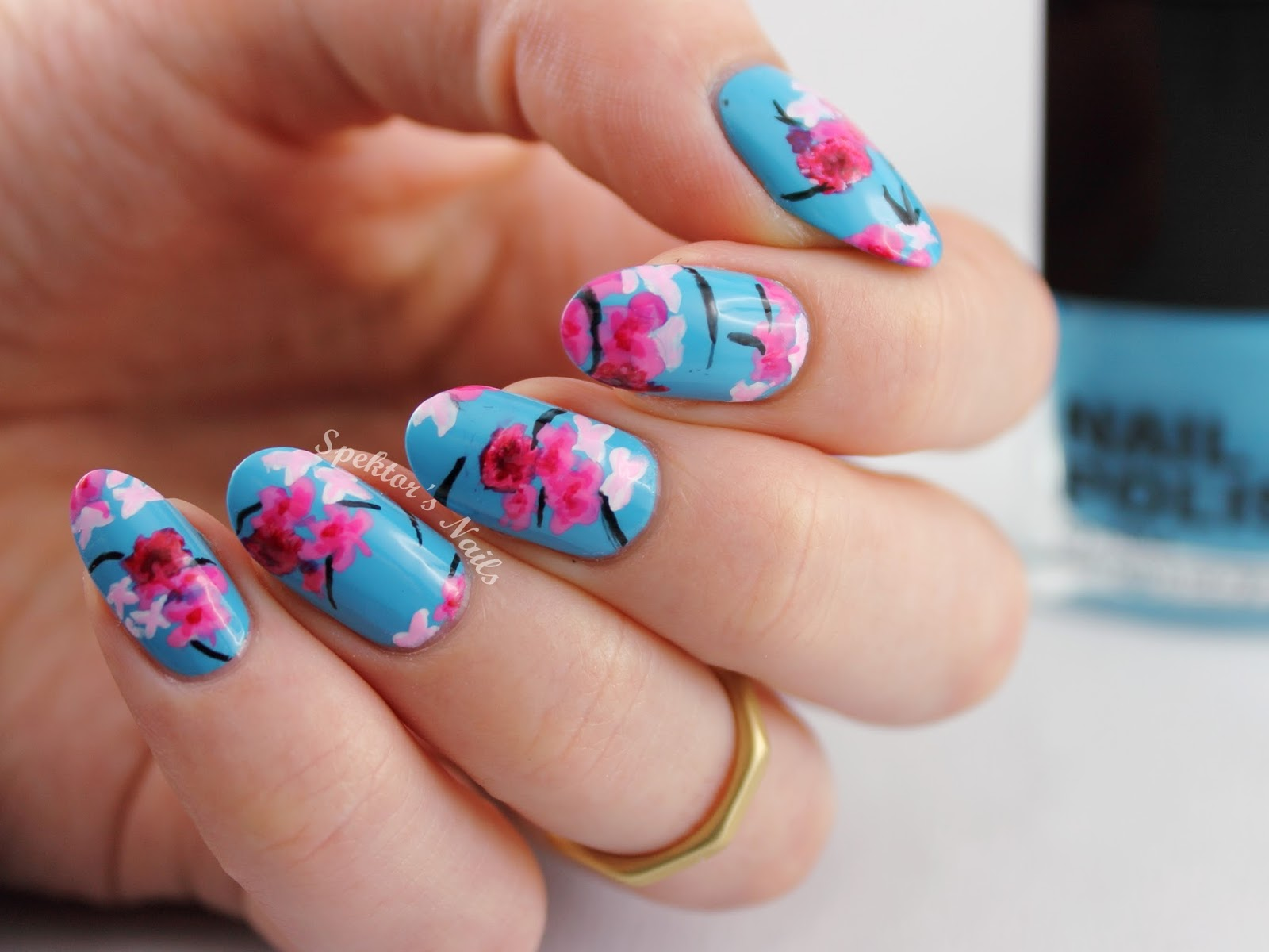 Floral / Cherry Blossom Nail Art inspired by H&M