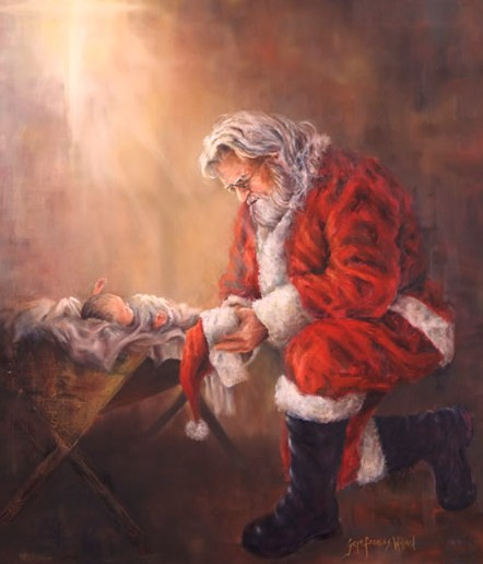 Santa giving his respects to the Baby Jesus