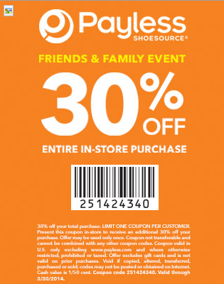 Payless shoes discount coupons