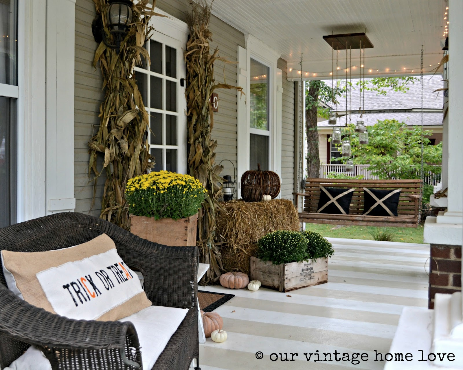 Vintage home love autumn porch ideas for Outdoor front porch decor