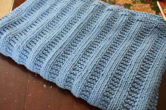 Garter Stitch Rib Blanket Complete