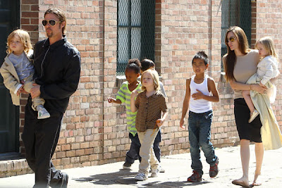 english actress angelina jolie six kids husband family photo