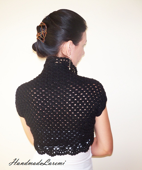 : Black Crochet Shrug / Wedding LACE BOLERO JACKET / Wedding Bolero ...
