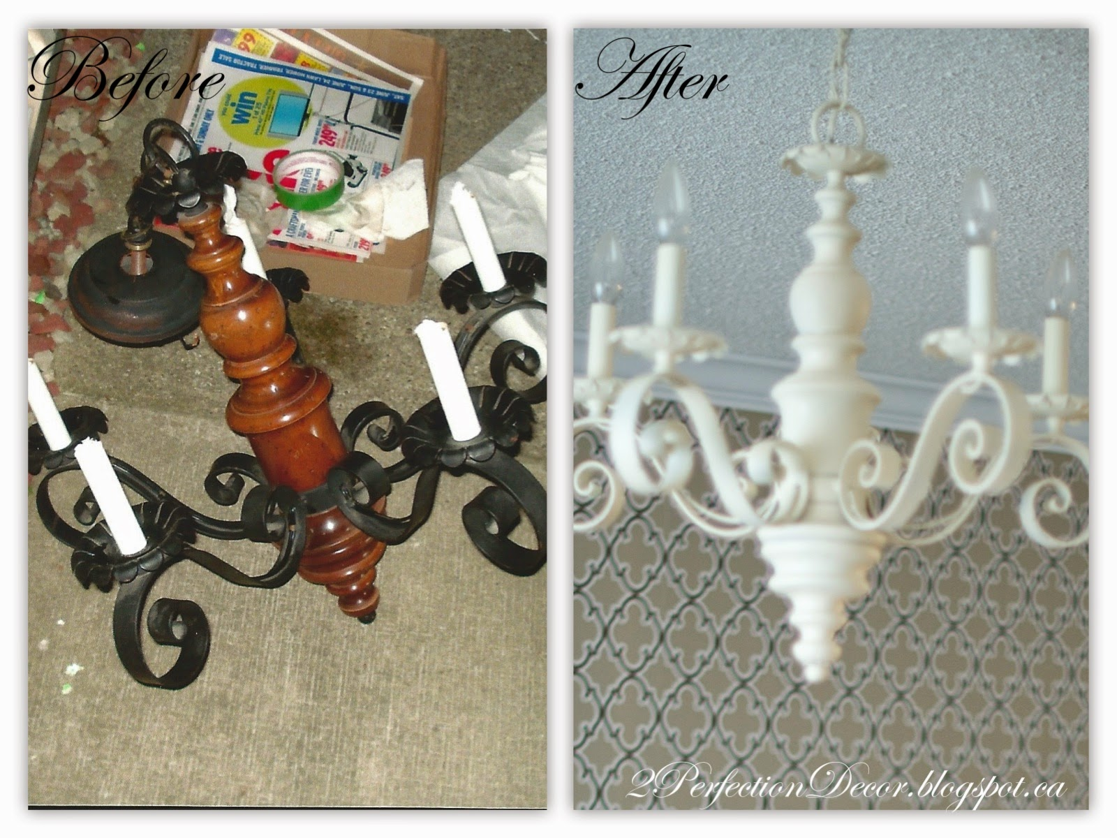 A Little Spray Paint And Some Time 30mins Max It Was Transformed Into Fabulous Shabby Chic Antique White Chandelier