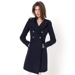La Redoute R Essential Military Style Wool Coat With Stand Up Collar
