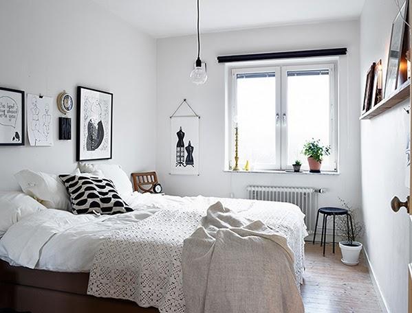 Inspiración y calidez de un dormitorio blanco y negro