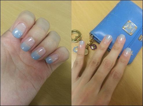 sara nail today's nail  sky blue color french