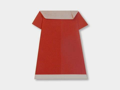 Cách gấp, xếp váy đầm bằng giấy origami - Video hướng dẫn xếp hình quần áo - How to fold a one piece Dress