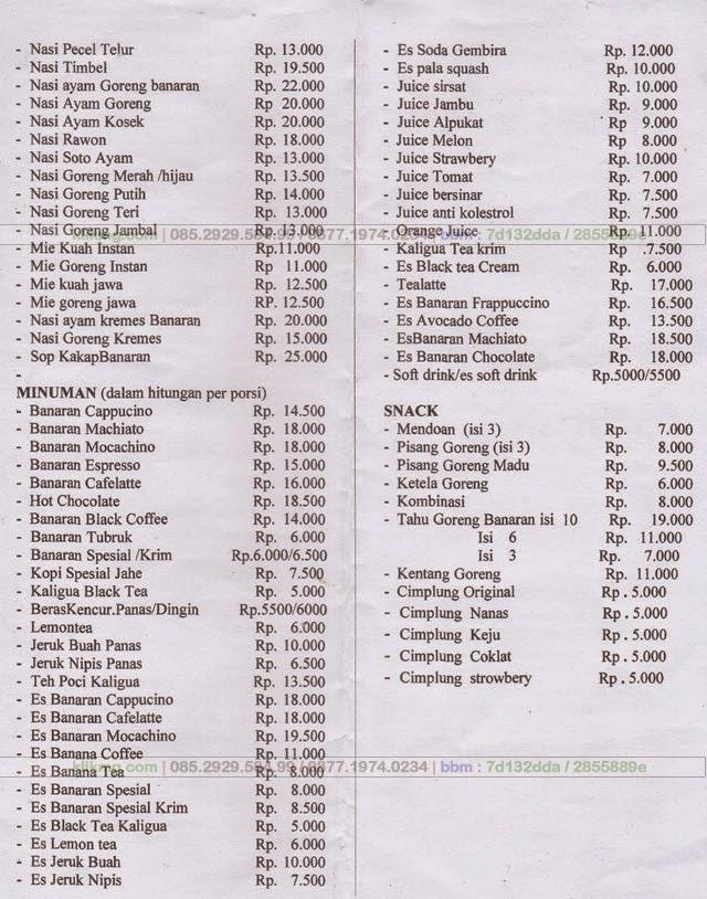 Daftar Harga Kuliner & Fasilitas serta Sarana Penunjang Pendukung BANARAN 9
