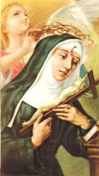 Santa Rita vestida de monja mirando un crucifijo y un angel detras le pone una corona de espinas