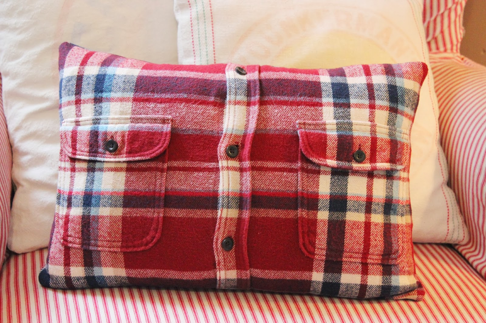 How To Make A Throw Pillow Out Of An Old T Shirt : Happy At Home: From Flannel Shirt to Pillow Cover - A Tutorial