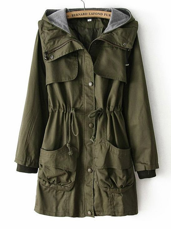See more Army Green Hooded Long Sleeve Drawstring Pockets Coat EUR