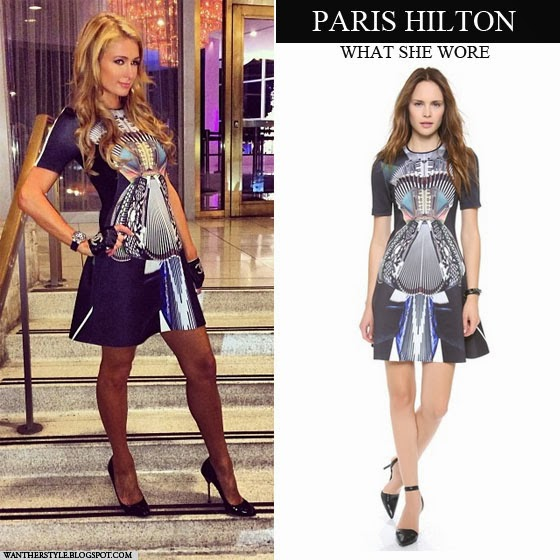 Paris Hilton in neoprene abstract print mini dress by Clover Canyon Want Her Style
