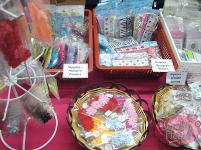Some of my craft supplies for sale - felt flowers, mulberry flowers,  brads, printed wooden buttons, grosgrain ribbons
