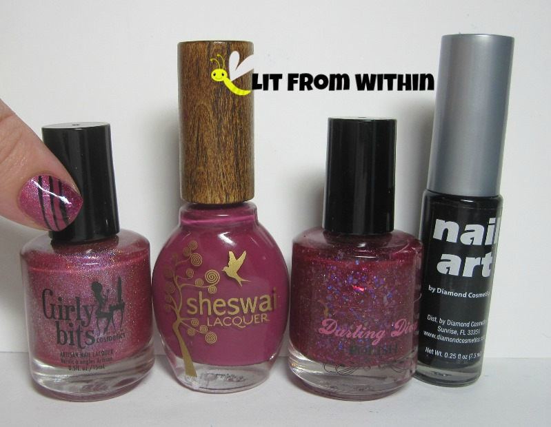 Bottle shot:  Girly Bits Crantini, Sheswai Totally, Darling Diva Polish Rose Opal, and a black nail art striper.