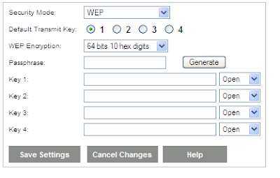setup WEP encryption on Linksys Wireless Expander