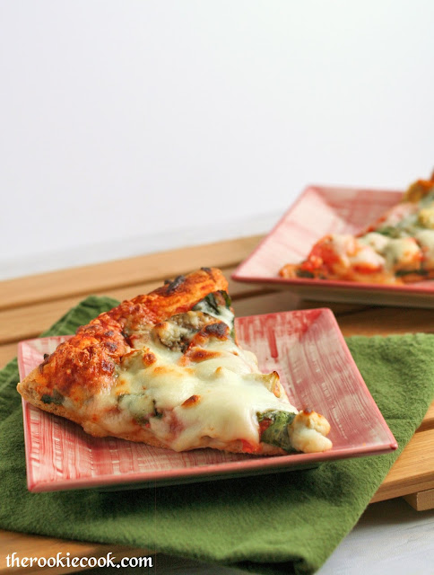 Spinach Artichoke Tomato Pizza ~ The Rookie Cook