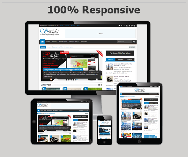 >Sevida Blogger Template Features Responsive