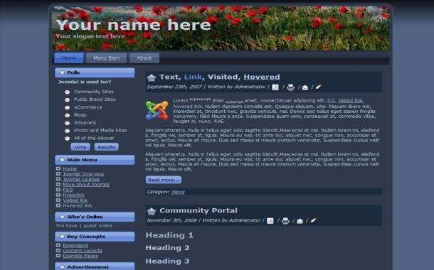 Free Dark Blue Nature Joomla Theme Template