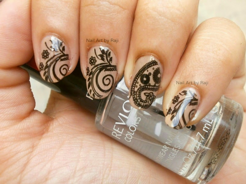 Indian Beauty Maniac Glossy Black Stamping On Beige Nails Notd