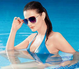 Amisha Patel in Sexy Blue Swim Suit