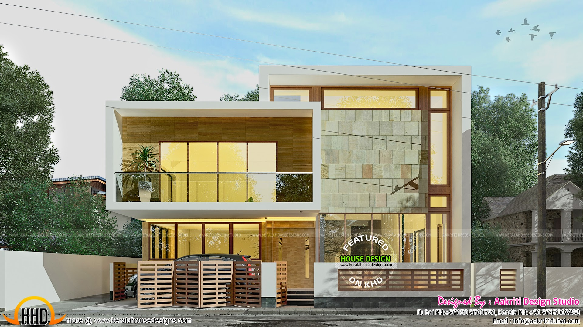 Contemporary villa with mezzanine courtyard kerala home for House plans with mezzanine floor