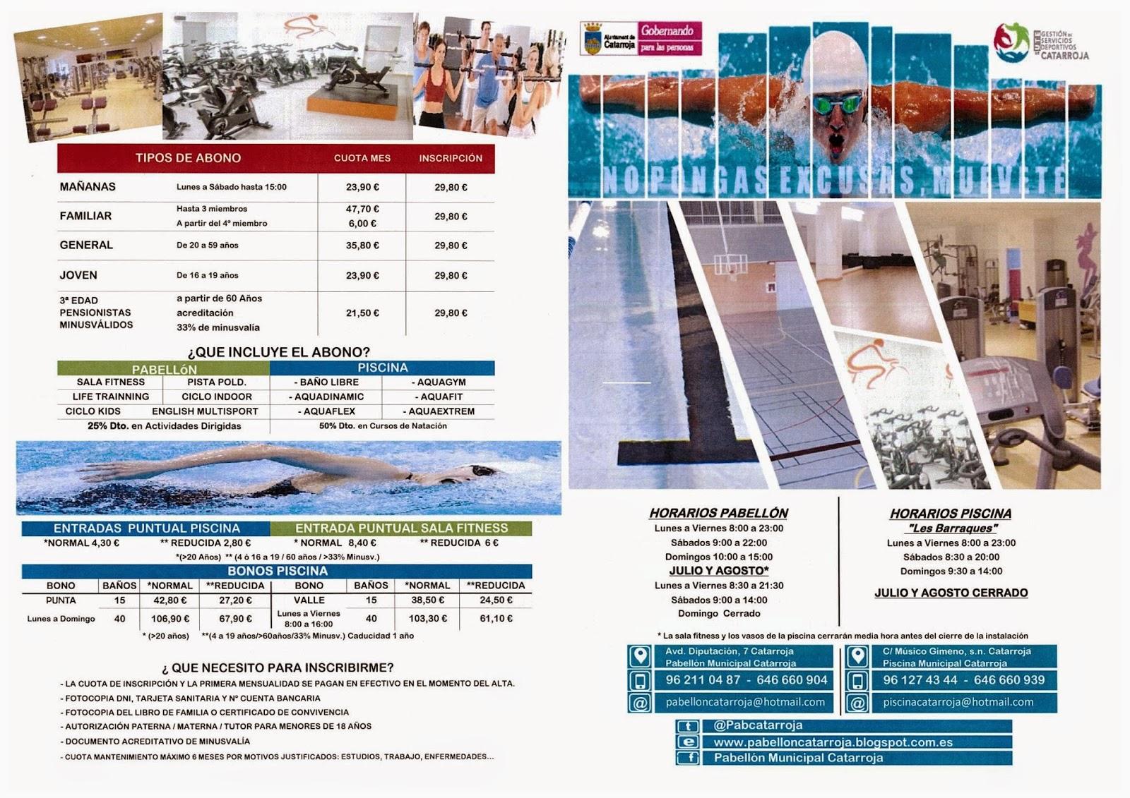 Pabellon municipal de catarroja folletos de precios for Piscina cubierta catarroja