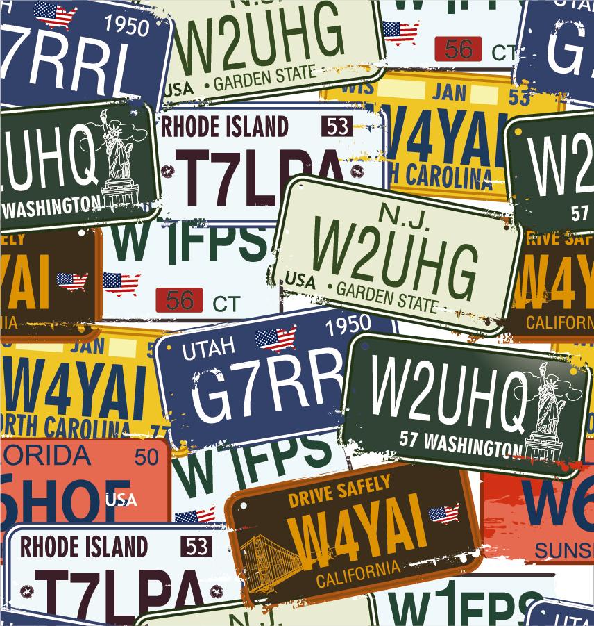 ナンバープレートが重なった背景 Vintage License Plates イラスト素材