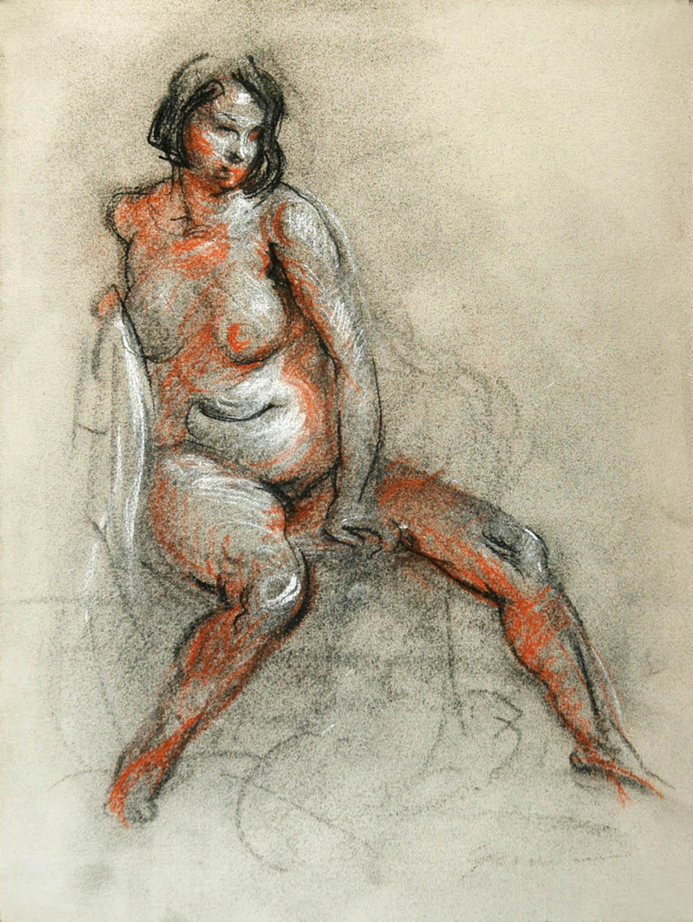 Charcoal drawings of the Female Figure from Life Class. Charcoal, willow  vine and jumbo with Ivory NuPastel and Conte White Soft